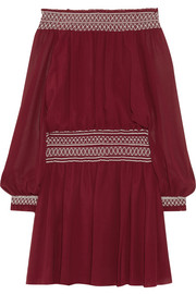 Indie off-the-shoulder silk-georgette mini dress