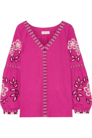 Tory Burch Therese embroidered cotton top