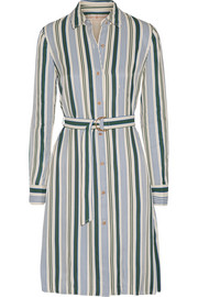 Villa striped satin-twill dress