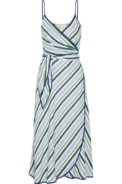 Tory Burch - Villa Striped Satin-twill Wrap Dress - Blue