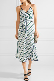 Villa striped satin-twill wrap dress