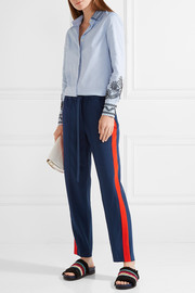 Tory Burch Desmond striped silk crepe de chine tapered pants