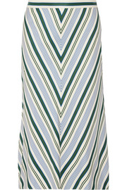 Tory Burch Villa striped satin-twill midi skirt