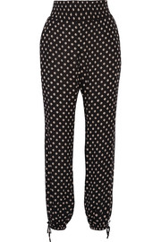 Tory Burch Fin crinkled printed georgette tapered pants
