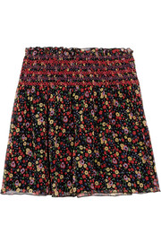 Smocked printed silk-crepon mini skirt