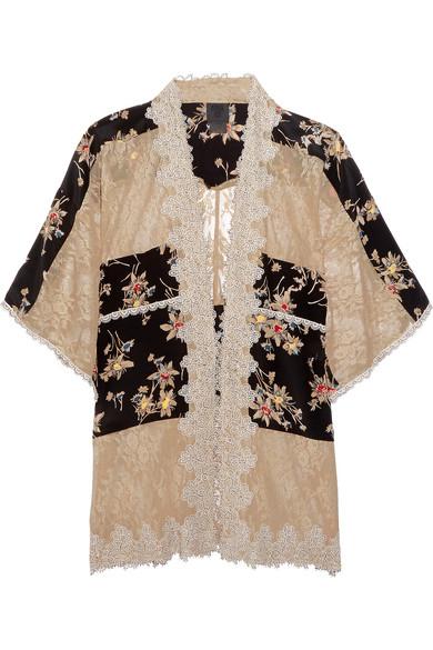 Lace-paneled printed silk crepe de chine jacket