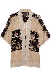 Lace-paneled printed silk crepe de chine jacket