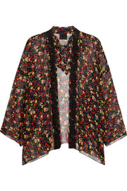 Floral-print silk-crepon and crocheted lace kimono