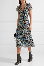Anna Sui Floral-print crinkled silk-chiffon midi dress
