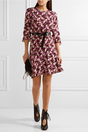 Anna Sui Lace-trimmed printed crepe mini dress
