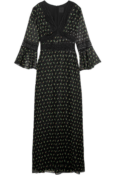Anna Sui - Lace-trimmed Printed Silk-blend Crepon Maxi Dress - Black