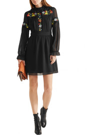 Anna Sui Embroidered georgette mini dress