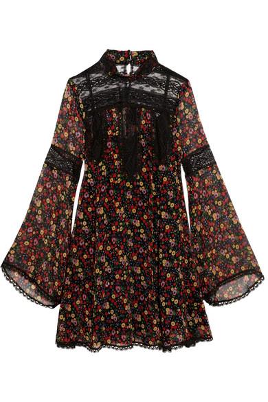 Anna Sui Lace Paneled Printed Silk