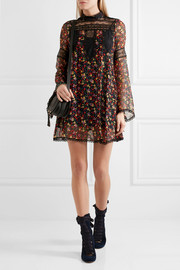 Anna Sui Lace-paneled printed silk-georgette mini dress