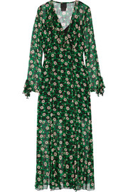 Ruffle-trimmed floral-print silk-georgette wrap dress