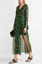 Anna Sui Ruffle-trimmed floral-print silk-georgette wrap dress