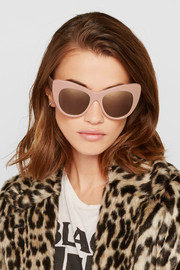 Cat-eye chain-embellished acetate mirrored sunglasses