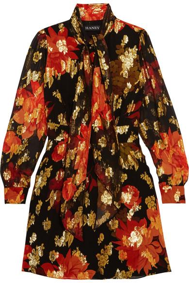 Haney - Fabienne Pussy-bow Silk-blend Jacquard Mini Dress - Black