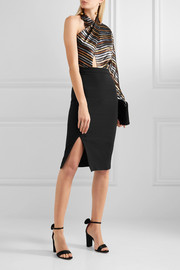 Haney Victoria metallic striped silk-blend lamé and crepe dress