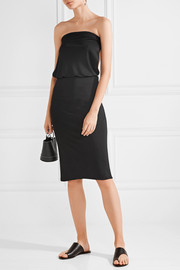 Lauren open-back leather-trimmed stretch-ponte dress