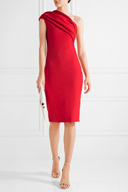 Alexandria one-shoulder gathered stretch-crepe dress
