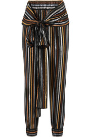 Colette metallic striped silk-blend lamé tapered pants