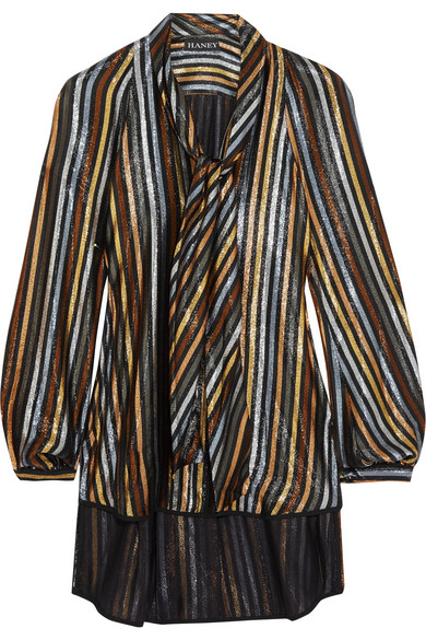 Haney - Diane Pussy-bow Striped Silk-blend Lamé Blouse - Metallic