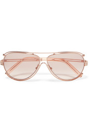 Isidora aviator-style rose gold-tone sunglasses