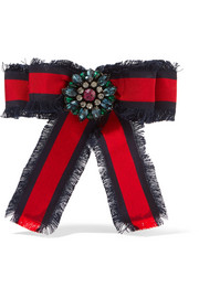 Gucci Frayed cotton-grosgrain and crystal brooch