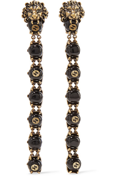 gucci female gucci goldtone bead clip earrings one size