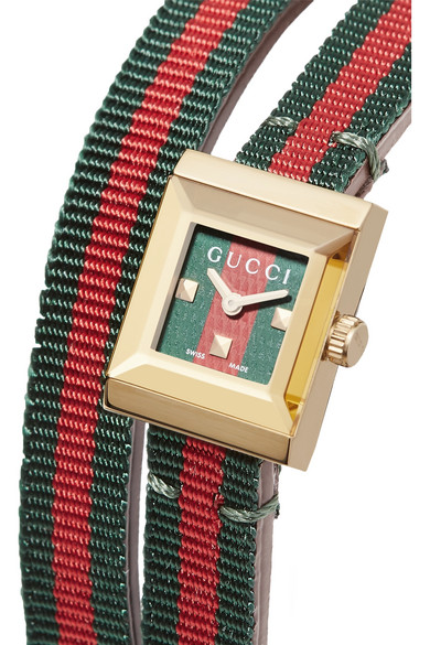 91dd106a563 Gucci. Canvas and gold-tone watch.  780. Zoom In