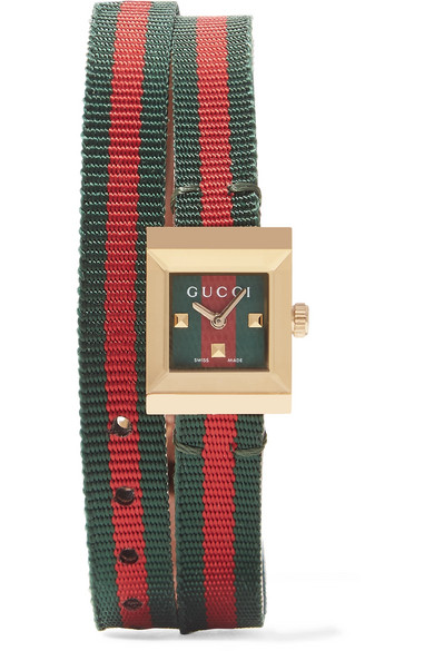 Gucci - Canvas And Gold-tone Watch - Red