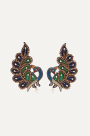 Gucci Gold-tone, crystal and satin clip earrings