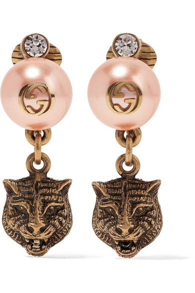 Gucci - Gold-tone, Faux Pearl And Swarovski Crystal Clip Earrings - Blush