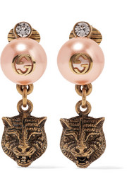 Gold-tone, faux pearl and Swarovski crystal clip earrings