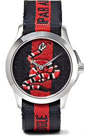 Gucci Embroidered canvas and stainless steel watch