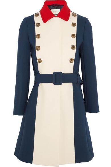 Gucci - Embellished Color-block Wool Coat - Royal blue