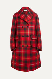 Gucci Oversized appliquéd tartan wool coat