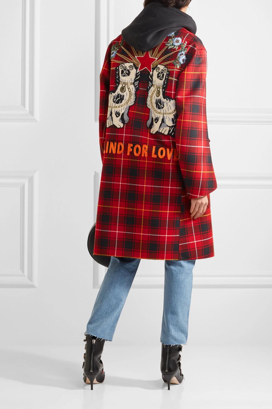 Gucci 贴花格子呢大廓形羊毛外套