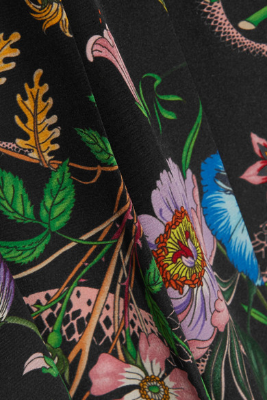 Billig Rabatt Authentisch Gucci Bedrucktes Seidenkleid aus Crêpe de Chine mit Falten Günstiger Preis Zu Verkaufen Billig Billig Verkauf Große Überraschung Günstig Kaufen Brandneue Unisex 9ECD2ol6WD
