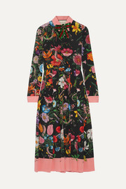 Gucci Pleated printed silk crepe de chine dress