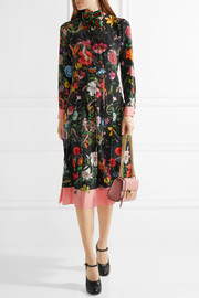 Pleated printed silk crepe de chine dress