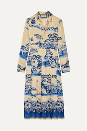 Gucci Pleated printed silk-twill midi dress