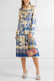 Pleated printed silk-twill midi dress