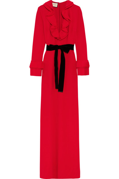 gucci female gucci velvettrimmed ruffled stretchcrepe gown red