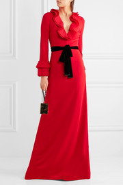Gucci Velvet-trimmed ruffled stretch-crepe gown
