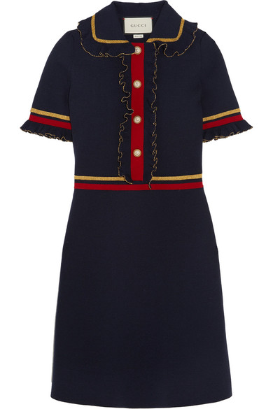 Gucci - Faux Pearl-embellished Ruffled Wool-blend Mini Dress - Navy