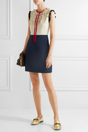 Gucci Ruffle-trimmed silk and wool-blend mini dress