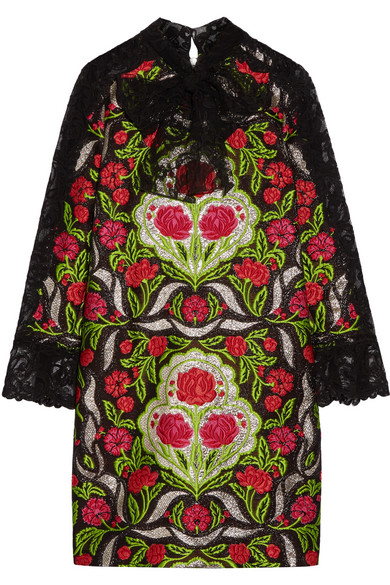 Gucci - Corded Lace-paneled Metallic Floral-jacquard Mini Dress - Green