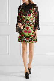 Gucci Corded lace-paneled metallic floral-jacquard mini dress
